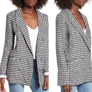 Lovers + friends gingham linen oversized blazer